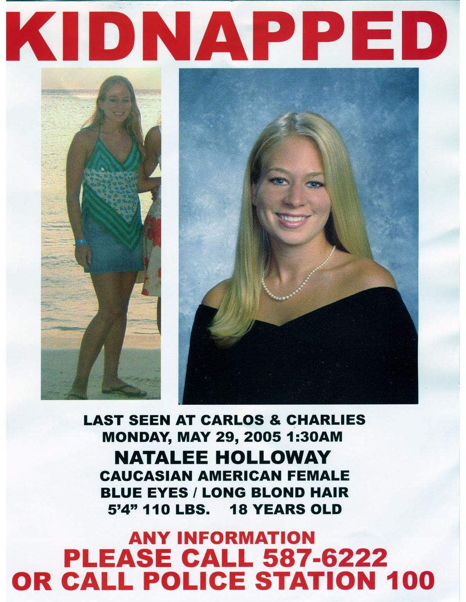 This poster which was prepared and released by the Holloway family is seen Friday, June 3, 2005.