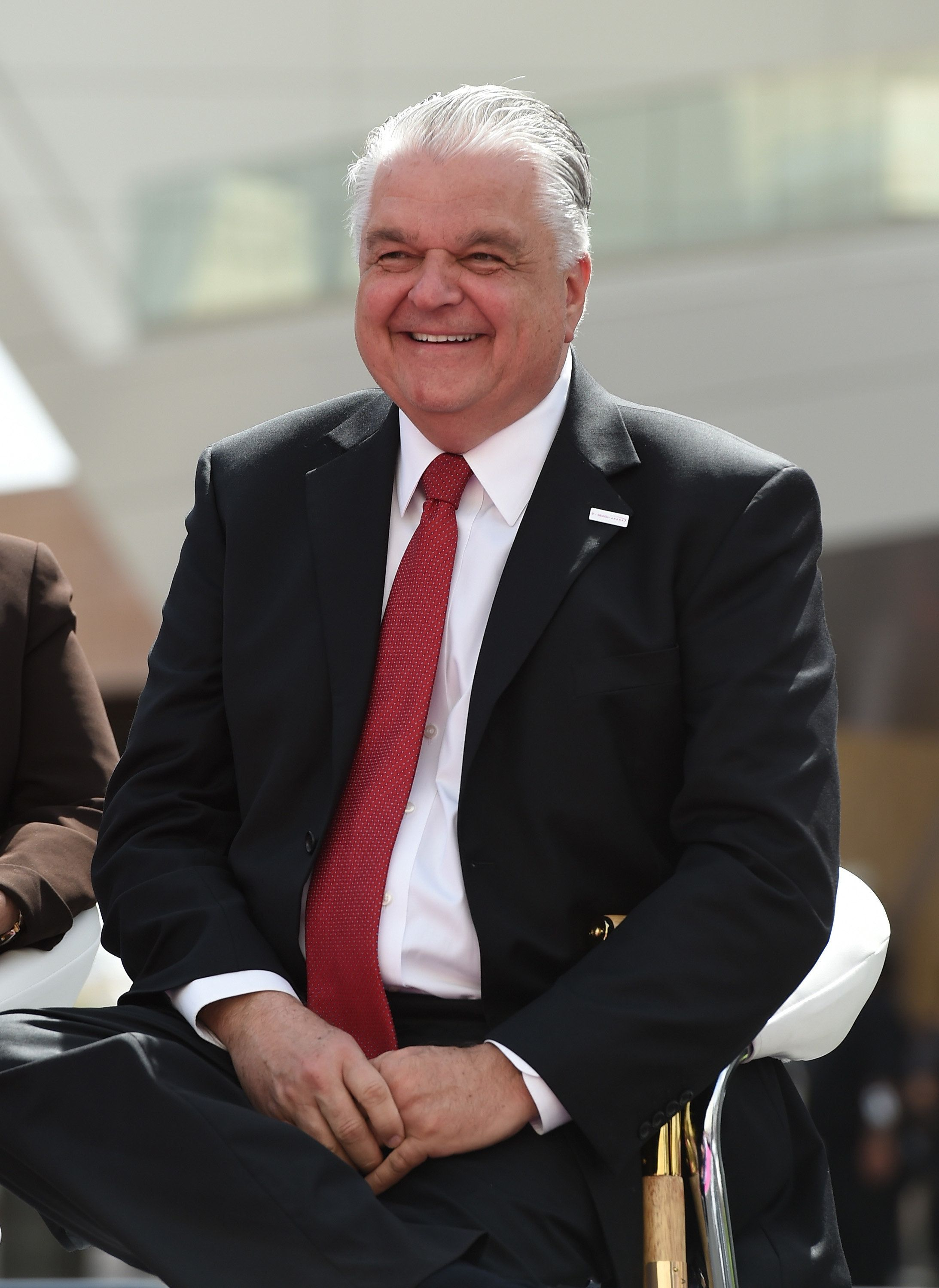 LAS VEGAS, NEVADA - APRIL 06:  Clark County Commission Chairman Steve Sisolak smiles during the T-Mobile Arena grand opening news conference on the Las Vegas Strip on April 6, 2016 in Las Vegas, Nevada.  (Photo by Ethan Miller/Getty Images for MGM Resorts International)