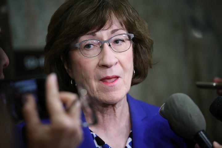 Sen. Susan Collins (R-Maine) answers questions from reporters on Monday about an allegation against Supreme Court nominee Bre