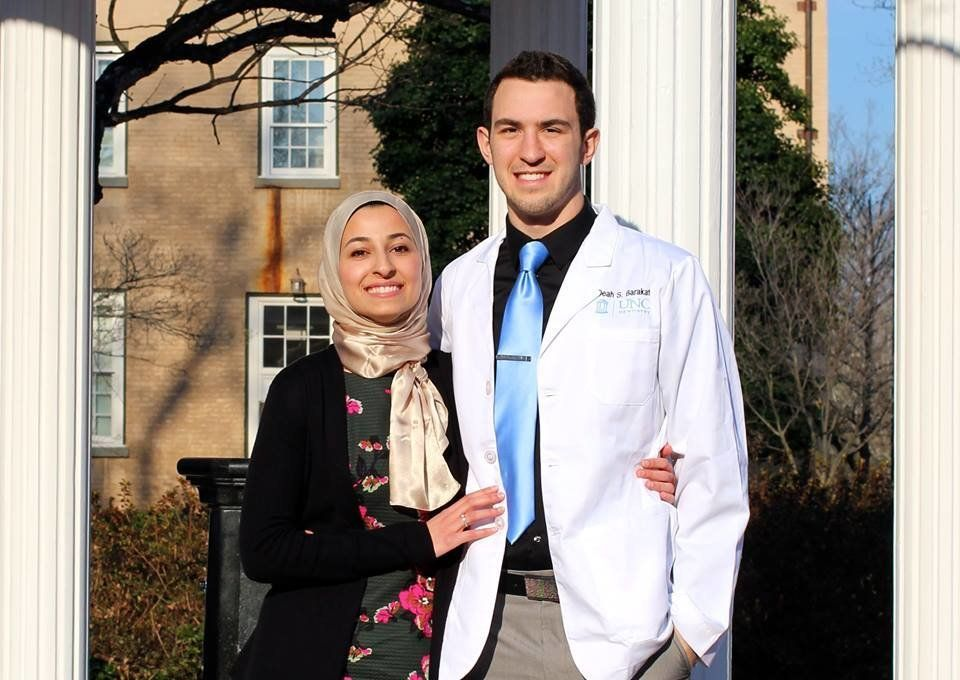 Deah Shaddy Barakat and his wife Yusor Abu-Salha. Barakat was a dental student who regularly volunteered and helped the homel