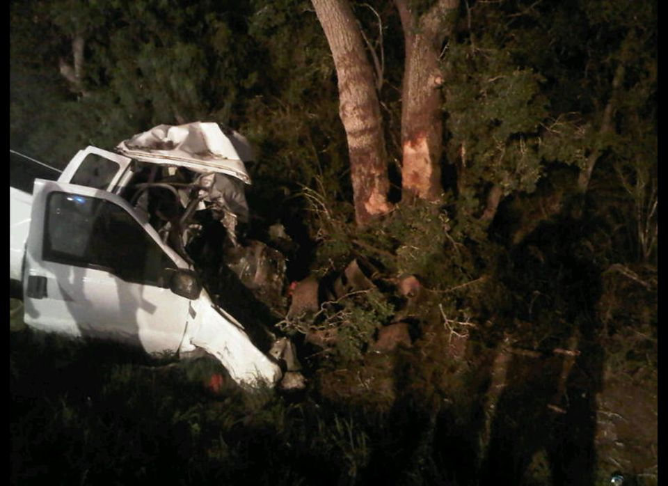 In a photo provided by the Texas Department of Public Safety the wreckage of a pickup truck is seen after it crahed into tree