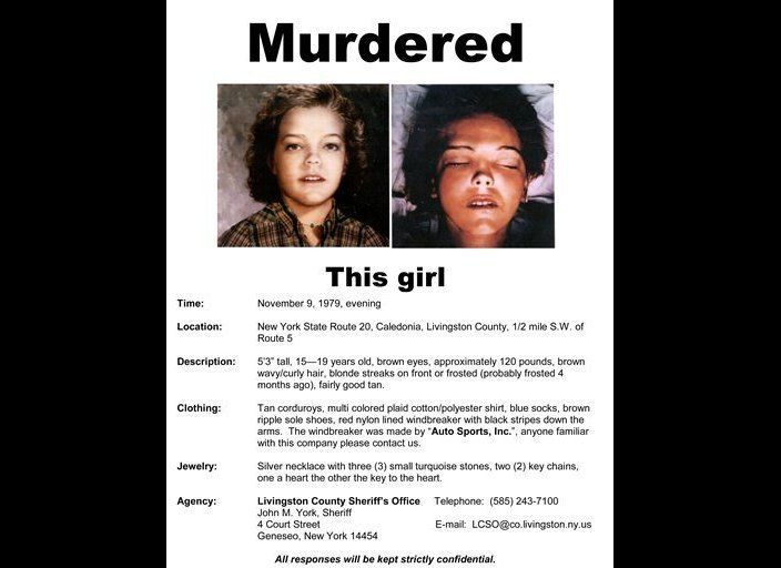This flyer from the Livingston County Sheriff's Office in Geneseo, N.Y., shows the face of an unidentified female found murde