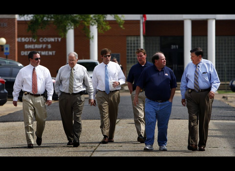 Tate County sheriff Brad Lance, left, Lent Rice, DeSoto County sheriff's office, Jay Hale, DeSoto County district attorney's
