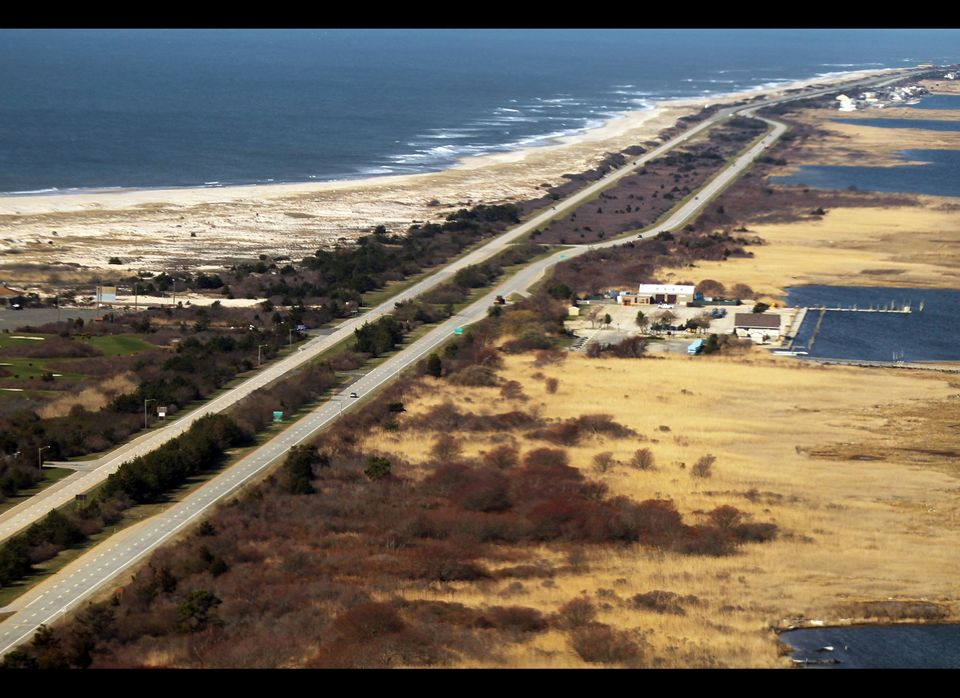 An aerial view of the area near Gilgo Beach and Ocean Parkway on Long Island where police have been conducting a prolonged se
