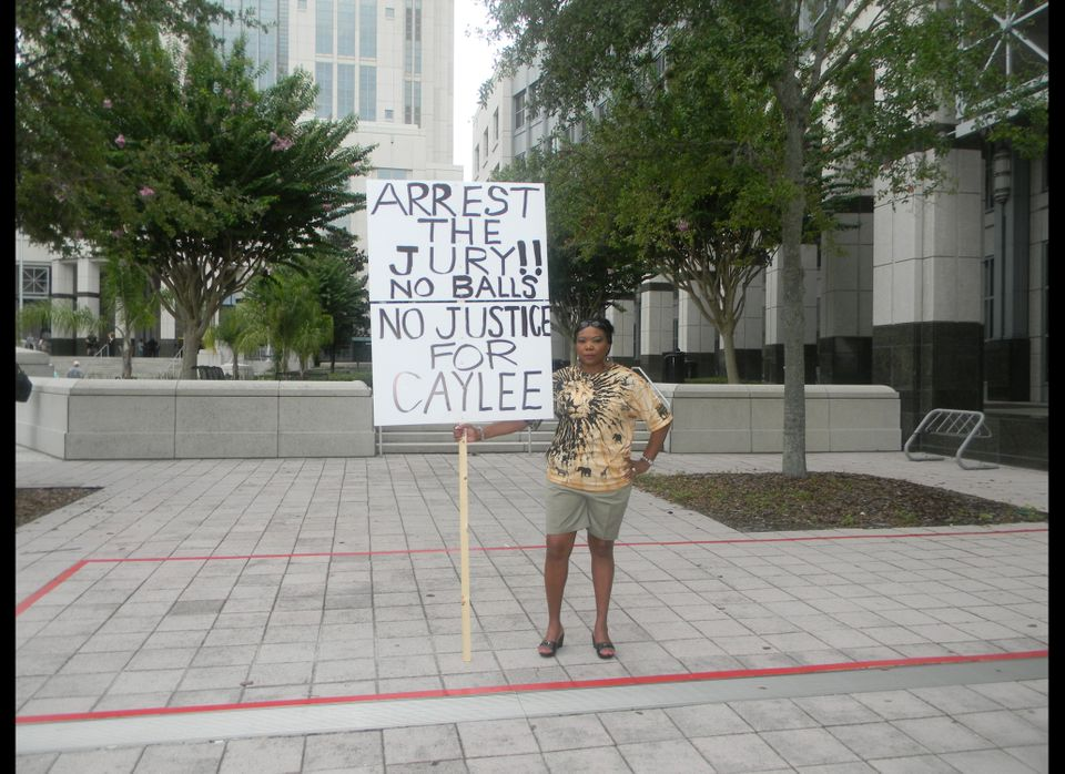 On the morning of Casey Anthony's sentencing, some 30 to 40 demonstrators -- including Orlando resident Flora Reece -- rallie