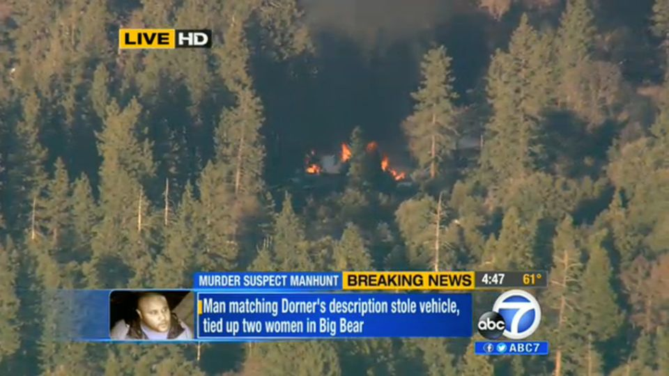 In this image taken from video provided by KABC-TV, the cabin in Big Bear, Calif. where ex-Los Angeles police officer Christo