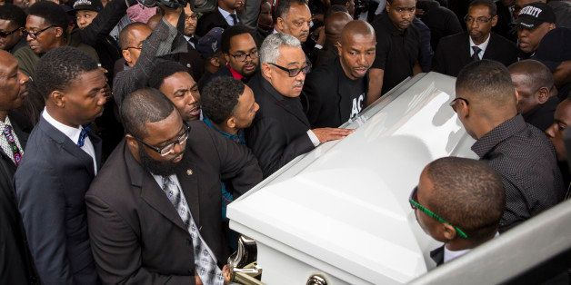 BALTIMORE, MD - APRIL 27:  Pallbearers carry the casket of Freddie Gray to the hearse after his funeral service at New Shiloh