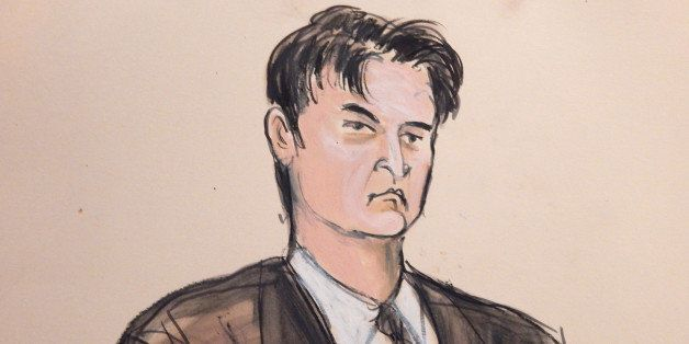 This courtroom sketch, shows defendant Ross William Ulbricht as the deputy recites the word ᅢ까タᅡワguiltyᅢ까タᅡン multiple times