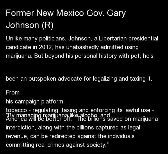 "Unlike many politicians, Johnson, a Libertarian presidential candidate in 2012, has <a href=""http://www.weeklystandard.com/bl"