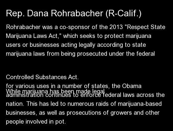 "Rohrabacher was a co-sponsor of the 2013 <a href=""https://www.huffpost.com/entry/respect-state-marijuana-laws-act_n_3070501"""