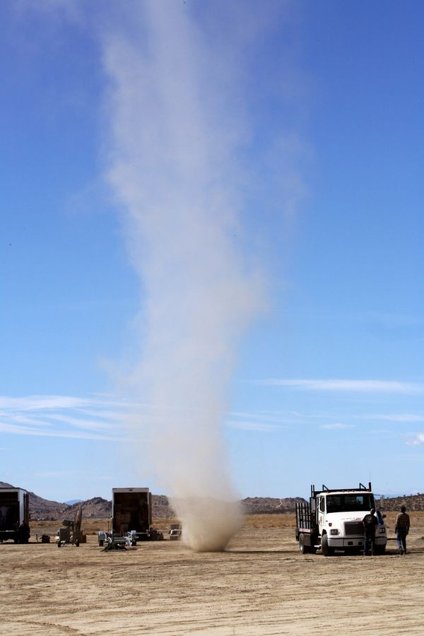 The dust devil is a strong whirlwind, which sucks up dust and debris,  making it visible. The devils are smaller than tornado