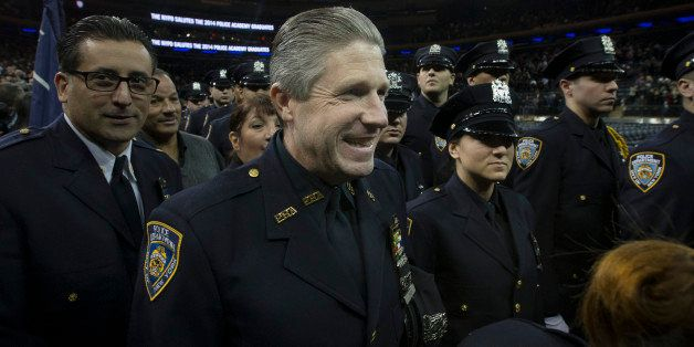 Patrick Lynch, president of the Patrolmen's Benevolent Assoication, attends a New York Police Academy graduation ceremony, Mo