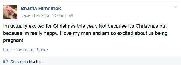 Shasta Himelrick announcing her pregnancy on Facebook.