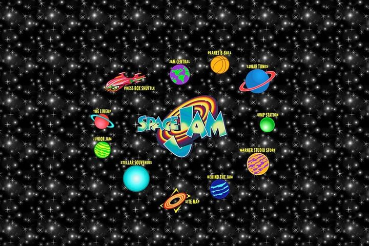 "Screengrab of the official site for ""Space Jam."""