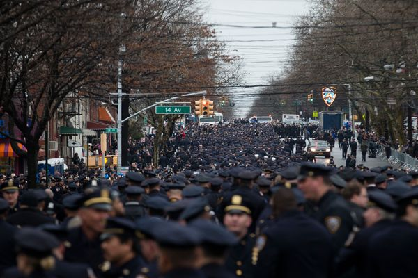 Police officers from across the country gather for the funeral of New York Police Department Officer Wenjian Liu at Aievoli F