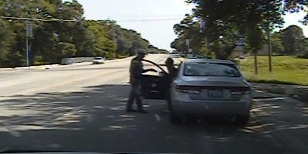 In this July 10, 2015, frame from dashcam video provided by the Texas Department of Public Safety, a heated confrontation bet