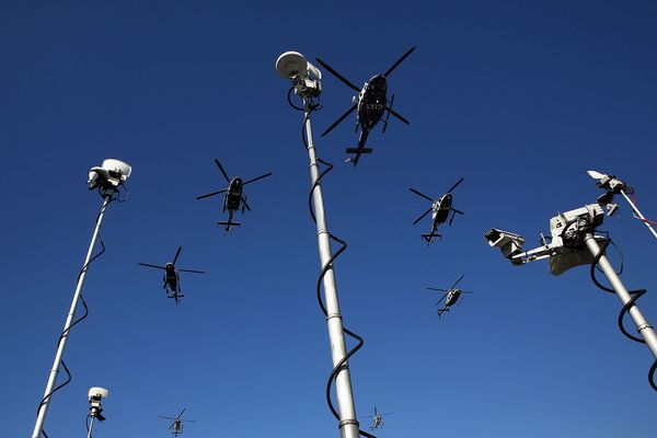 NEW YORK, NY - DECEMBER 27:  Police helicopters fly above television antenas as they do a flyover for the funeral at  Christ
