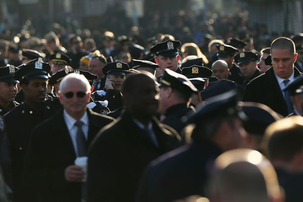 NEW YORK, NY - DECEMBER 27:  Police officers from around the country gather outside of  Christ Tabernacle Church for the fune