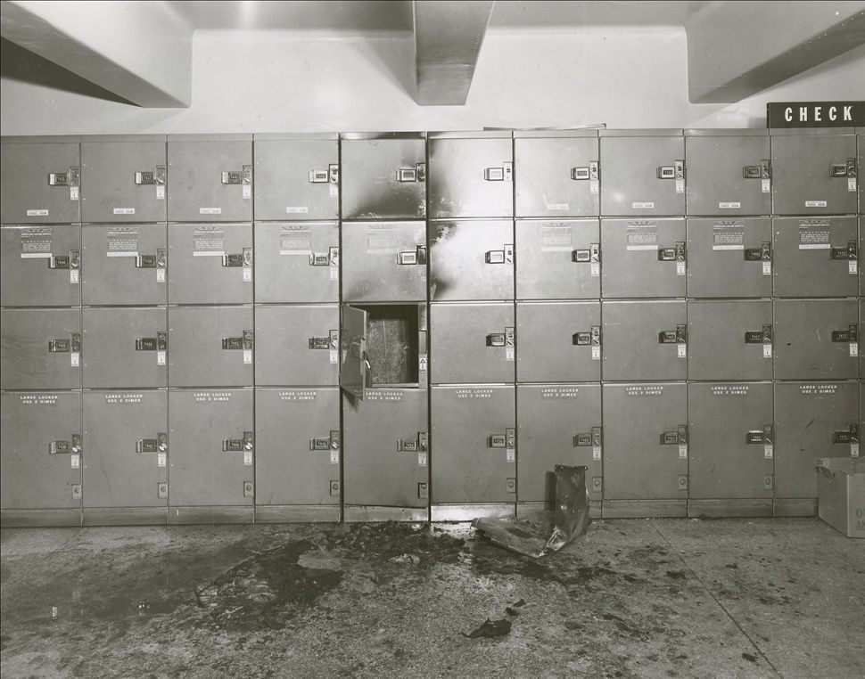 "A locker from a pipe bomb explosion at Pennsylvania Station in 1955, that was eventually connected to ""Mad Bomber"" George S."