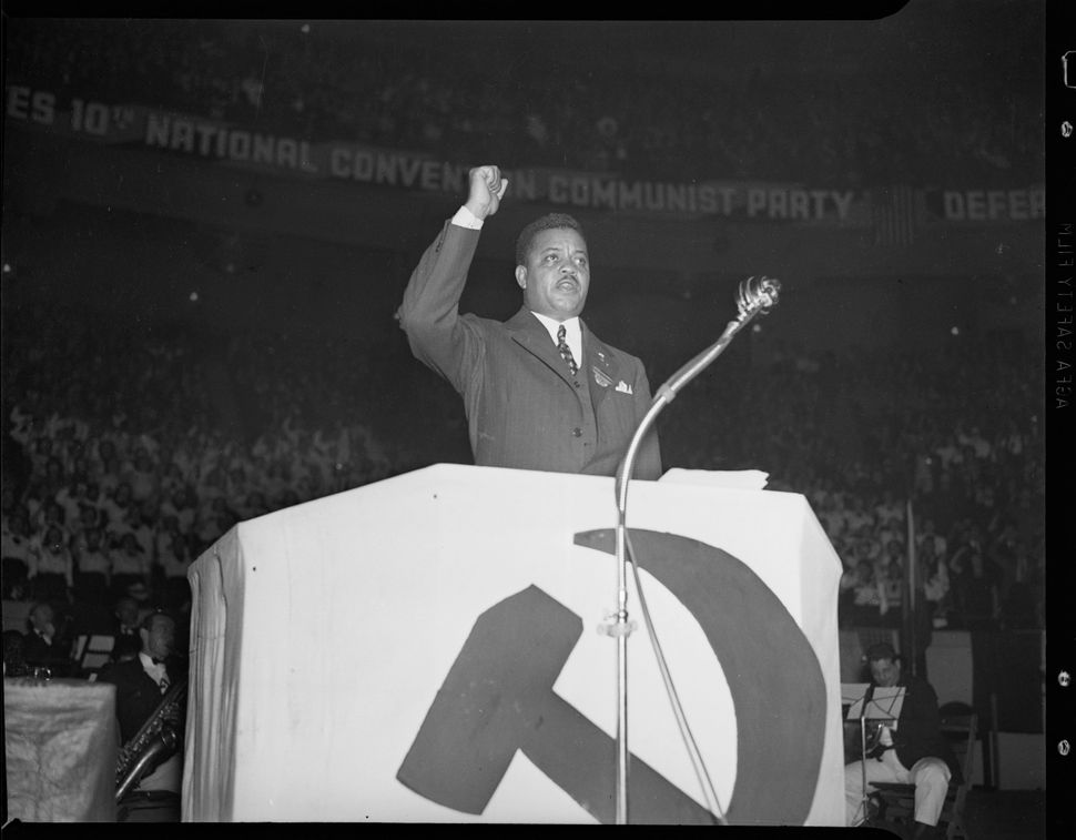 James W. Ford speaking at a Communist Party meeting at Madison Square Garden May 26, 1938.