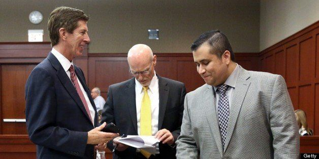 SANFORD, FL - JULY 02:  George Zimmerman, with his attorneys, Mark O'Mara (left),  and Don West during a recess on the 17th d