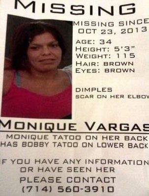 Authorities in Santa Ana, Calif., are searching for 34-year-old Monique Vargas. She disappeared Oct. 24.   Heather Hernandez,