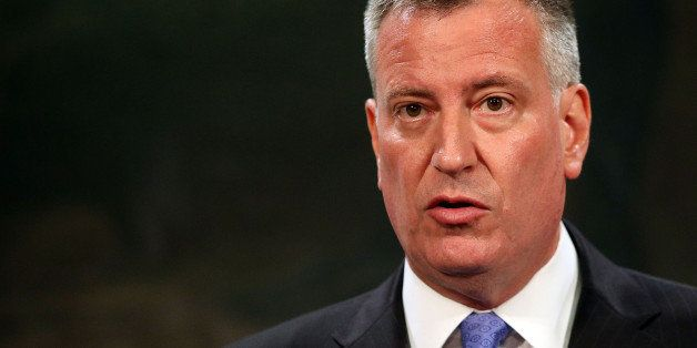 NEW YORK, NY - JULY 18:  New York Mayor Bill de Blasio speaks to the media at a news conference to address the recent death o