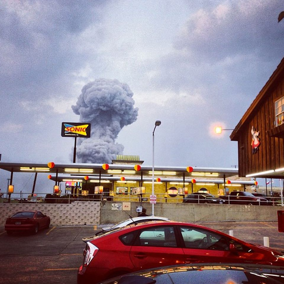 In this Instagram photo provided by Andy Bartee, a plume of smoke rises from a fertilizer plant fire in West, Texas on Wednes