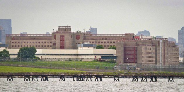FILE- In this June 11, 2014 file photo, the eastern section of Rikers Island jail complex in the Queens borough of New York i