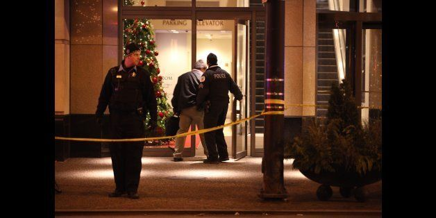 Chicago police secure the Wabash and Grand Avenues entrance to the Nordstrom store on Michigan Avenue in downtown Chicago, wh