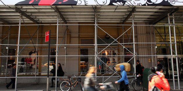 NEW YORK, NY - APRIL 10:  A vinyl mural attached to the scaffolding wrapping around Google's New York headquarters along Eigh