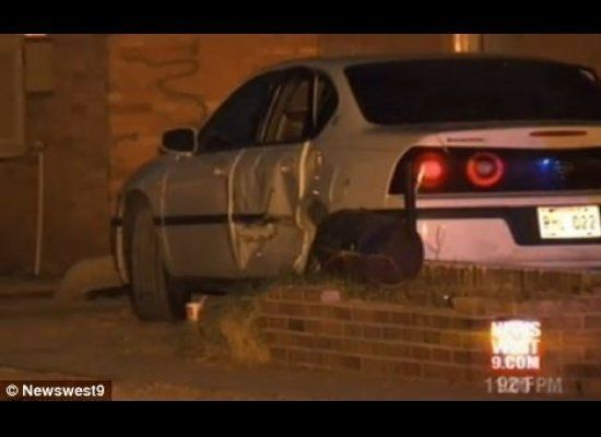 Hernandez struck this Chevrolet Impala after missing her original target -- her husband -- and pinned 7-year-old Tasia Pryor