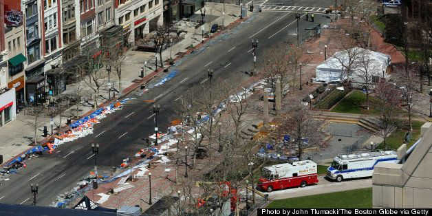 BOSTON - APRIL 16: Boston Marathon Explosion aftermath. Boylston Street is blocked off at Copley Square, where runners got wa