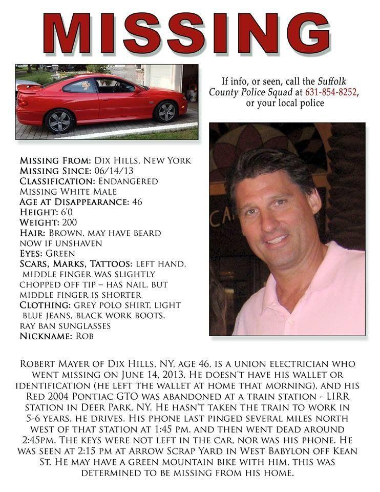 Robert Mayer, 46, of Dix Hills, NY, has not been seen since June 14.