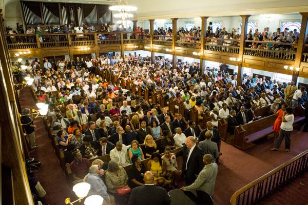 Members of the public filled the Morris Brown AME Church to capacity in downtown Charleston Thursday afternoon for a prayer v