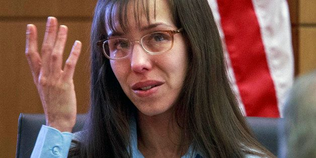FILE - In this  Feb. 20, 2013 file photo, defendant Jodi Arias testifies about killing Travis Alexander in 2008 during her mu