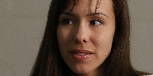 Convicted killer Jodi Arias emphasizes a point  as she pauses while answering a question during an interview at the Maricopa