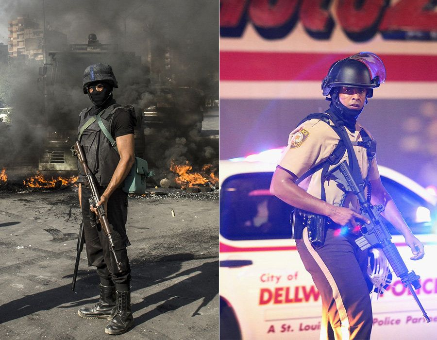 LEFT: An Egyptian riot policeman secures a street in front of burning tyres thrown by supporters of Muslim Brotherhood moveme