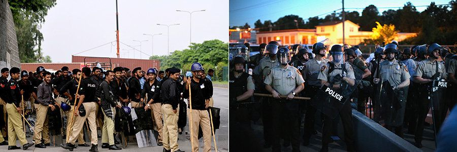 LEFT: Pakistani policemen carry riot gear as they gather at a roadblock in Islamabad on August 14, 2014.   RIGHT: Police stan