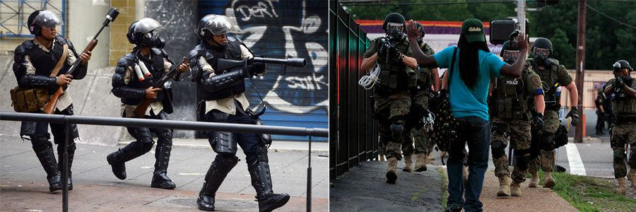 LEFT: National Police members run during clashes in an anti-government protest in Caracas on March 22, 2014 in Caracas, Venez