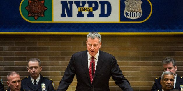 NEW YORK, NY - DECEMBER 19:  New York City Mayor Bill de Blasio speaks at a promotion ceremony for New York Police Department