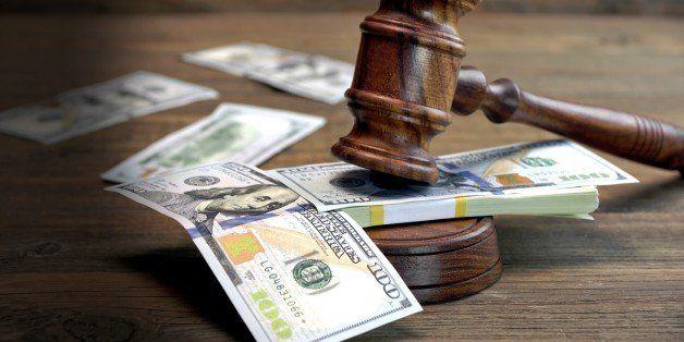 Concept For Corruption, Bankruptcy Court, Bail, Crime, Bribing, Fraud, Auction Bidding. Judges or Auctioneer Gavel, Soundboar