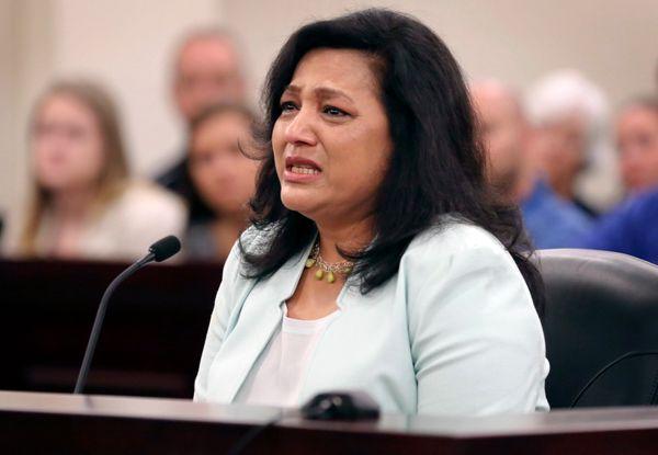 Rajshree Shrestha, mother of murder victim Samanata Shrestha, testifies in Christiansburg Va. Monday, June 1 2015.