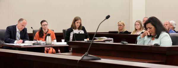 Rajshree Shrestha, right, mother of murder victim Samanata Shrestha, testifies as defendant Jessica Michelle Ewing, left, and