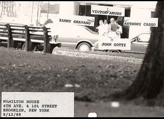 Surveillance photo of Mafia leaders John Gotti, Sammy Gravano, Victor Amuso and Anthony Casso. Casso would try to kill Gotti