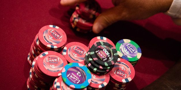 HANOVER, MD - AUGUST 28:   A stack of chips sits on the table.  The Poker Room at Maryland Live! Casino Opened to the public