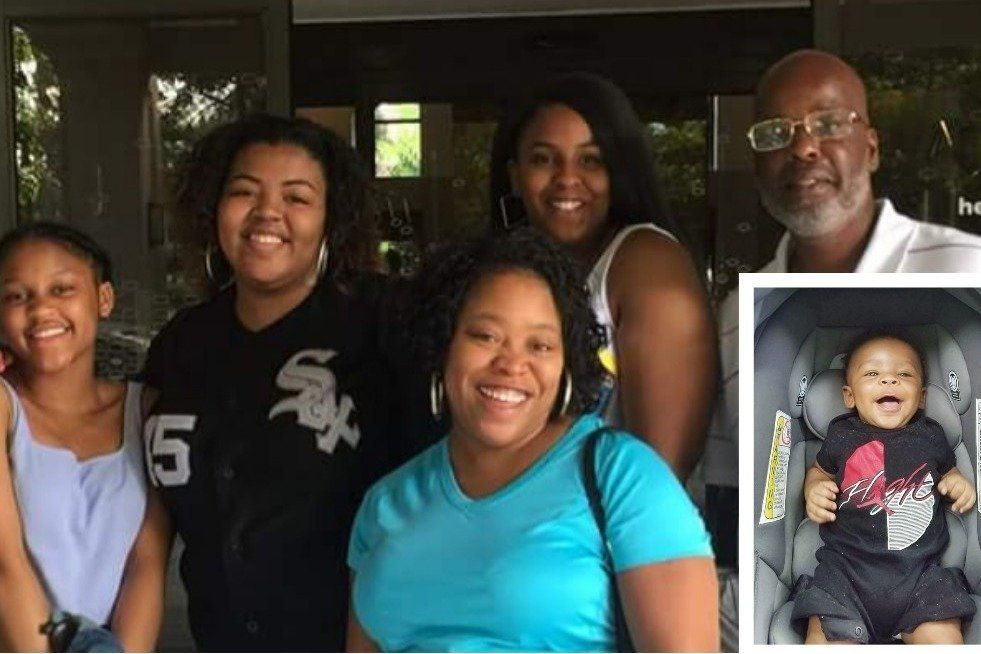 The Murphy-Johnson family with Lesha Murphy-Johnson (front-center) and son, Adam (inset).