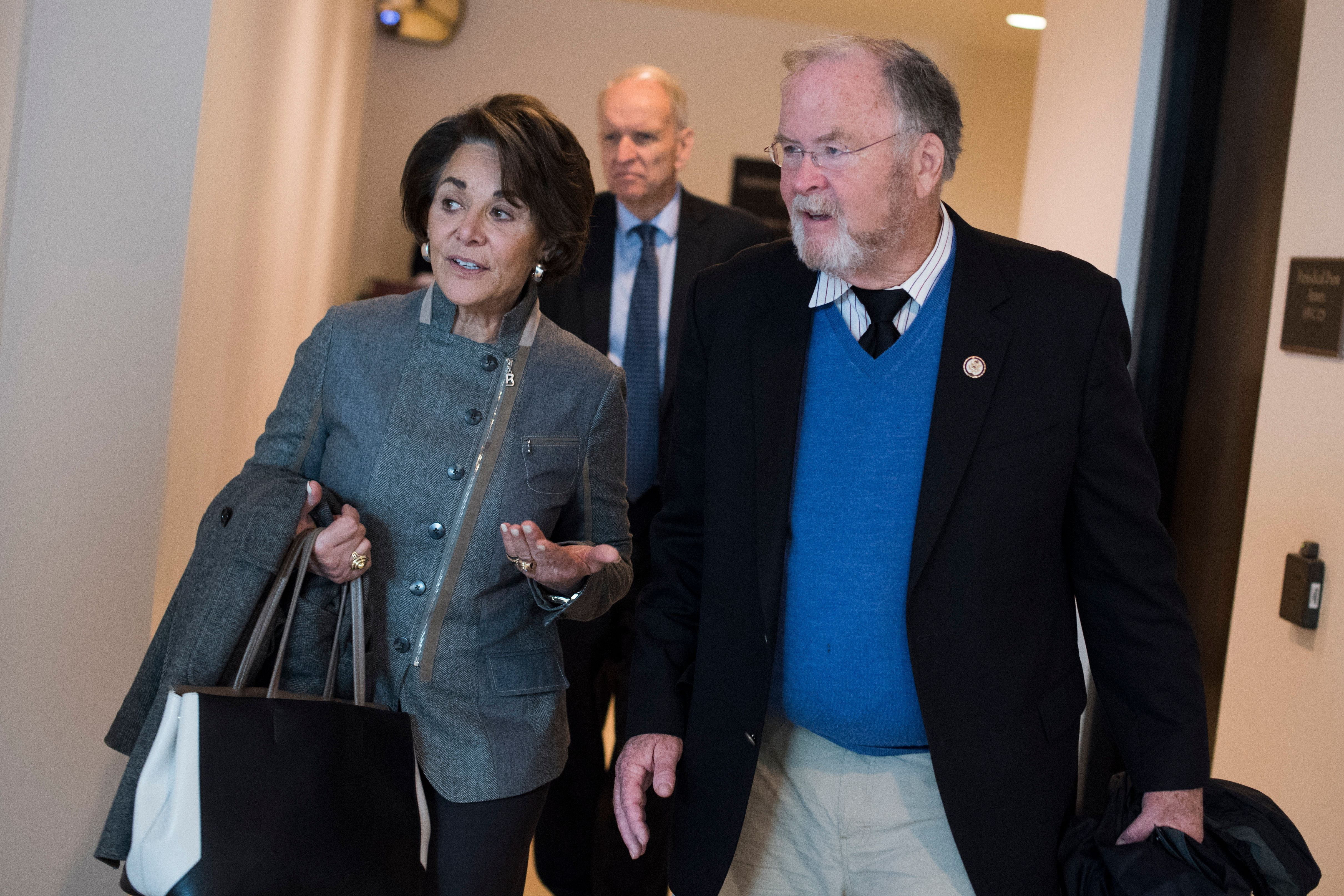 UNITED STATES - FEBRUARY 27: Rep. Anna Eshoo, D-Calif., and former Rep. Sam Farr, D-Calif., are seen in the Capitol Visitor Center on February 27, 2018. (Photo By Tom Williams/CQ Roll Call)