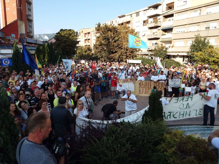 People protest in Pirot, Serbia.