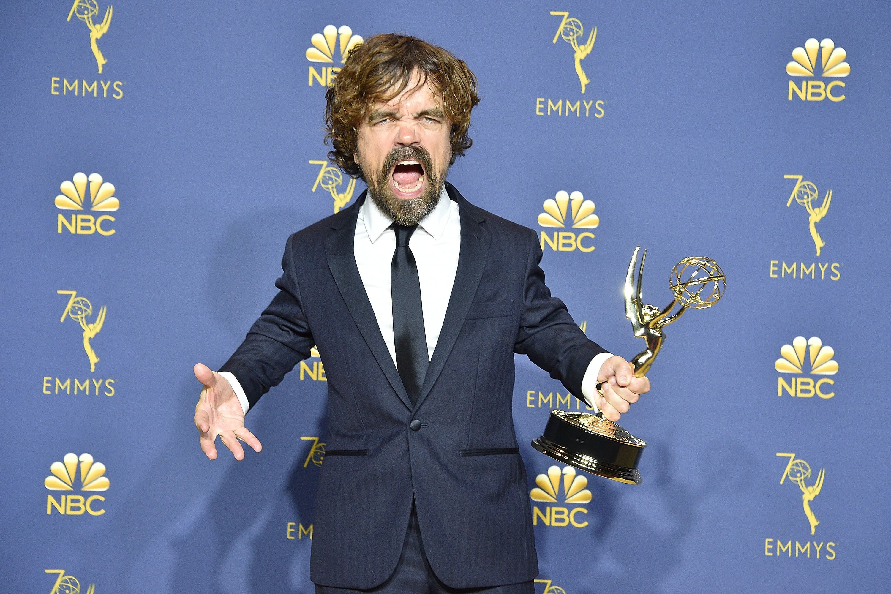 LOS ANGELES, CA - SEPTEMBER 17:  Peter Dinklage attends the 70th Emmy Awards - Press Room at Microsoft Theater on September 17, 2018 in Los Angeles, California.  (Photo by David Crotty/Patrick McMullan via Getty Images)